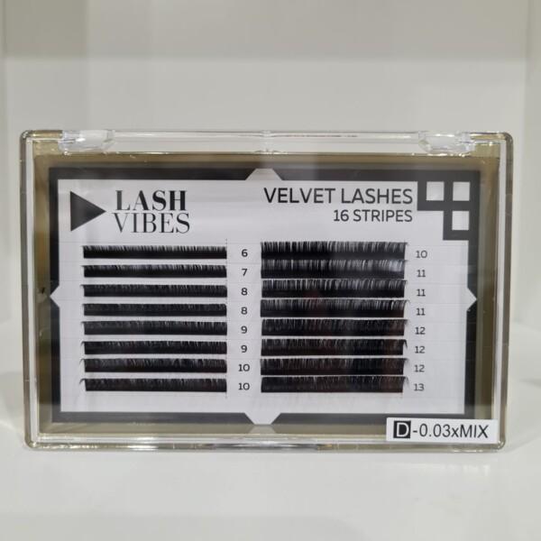 Velvet Lashes 16 Strisce MIX Curvatura D 0.03